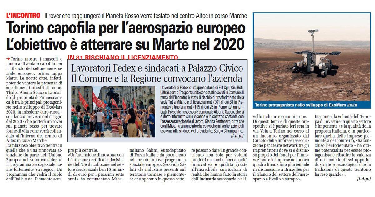 Torino capofila per l'aerospazio europeo.