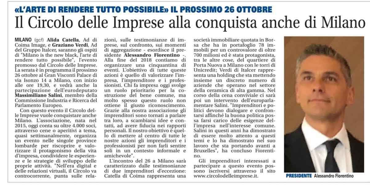 Il Circolo delle Imprese alla conquista anche di Milano