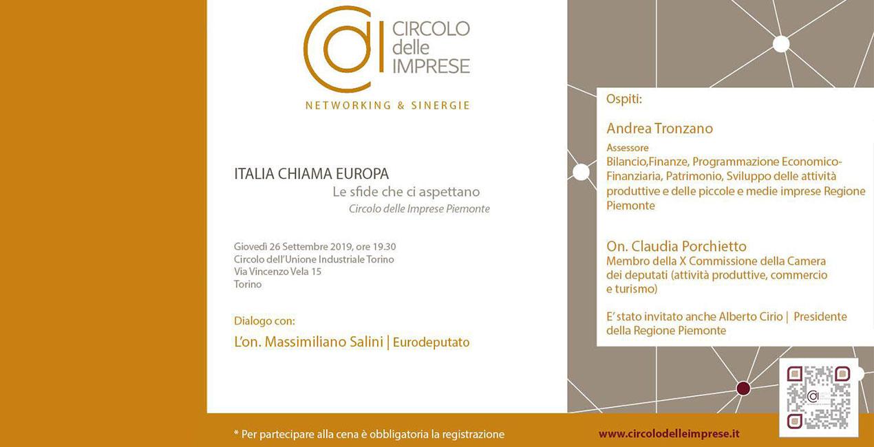 ITALIA CHIAMA EUROPA: LE SFIDE CHE CI ASPETTANO, Circolo delle Imprese Piemonte
